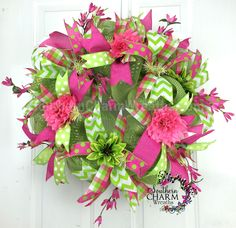 Spring Mesh Wreath - Hot Pink - Lime Green -Spring Door Wreath by www.southerncharmwreaths.com #decomesh #spring #hotpink #green