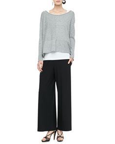 Speckled Box Knit Top, Slim Tank & Wide-Leg Pants, Petite by Eileen Fisher at Neiman Marcus.