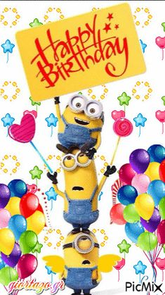 Happy Birthday Wishes Pics, Minion Birthday Wishes, Happy Birthday Celebration, Happy Birthday Signs, Happy Birthday Pictures, Funny Happy Birthday Images, Birthday Humorous, Animated Birthday Cards, Birthday Gifs