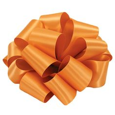 """Pumpkin Orange double sided satin, luxuriously silky and liquidy soft, 1 1/2"""" wide. Made in the USA by well known quality ribbon company Offray Lion."""