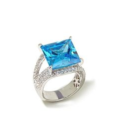 Victoria Wieck 13.36ct Absolute™ Paraiba-Color Sterling Silver Bridge Rin - 8008139 | HSN
