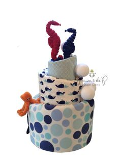 Under the Sea Topsy Turvy Diaper Cake Baby by PrincessAndThePbaby, $149.95