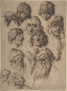 Jacques de Gheyn II (Netherlandish, 1565–1629). Study of Eleven Heads, late 16th–early 17th century. The Metropolitan Museum of Art, New York. Purchase, Harris Brisbane Dick Fund, Rita and Frits Markus Fund, and Charles and Jessie Price Gift, 2006 (2006.101) #mustache #movember