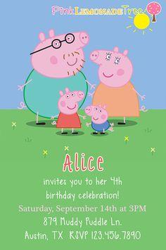 Peppa Pig Birthday Party Invitation by PinkLemonadeTree on Etsy, $12.00