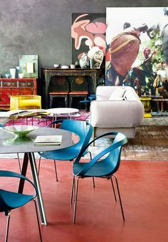 inside the wildly colourful home of Patrizia Moroso Furniture Manufacturers, Architecture, Creative Director, House Colors, Old And New, Dining Chairs, Interior Design, Elegant, Inspiration