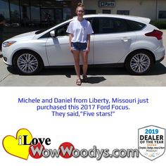 This Ford Focus is the perfect vehicle for focusing on the road. 😉 Congratulations to Michele and Daniel! 🎉 #wow #wowwoodys #woodysautomotive #cars #trucks #suvs #carsforsale #trucksforsale #suvsforsale #kansascity #chillicothe #customerreviews #customertestimonials #wowcarbuying #carshopping #happycustomers #2017fordfocus #fordfocus #ford #focus