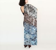 Blue Brown Silk Scarf Printed Scarf Long Scarf by WhimZingers