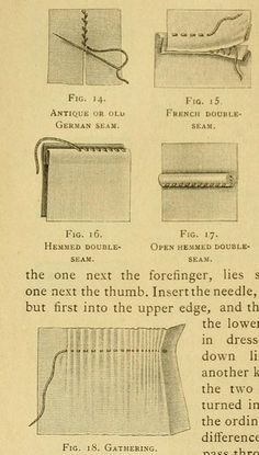 """French double seams and gathering from the public domain ebook """"Encyclopedia of needlework (1890)."""" Download this book in epub, kindle or pdf format here: https://archive.org/stream/encyclopediaofne00dill"""