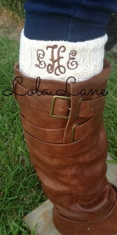 Monogrammed Boot Sock by LolaLaneGifts on Etsy, $22.50