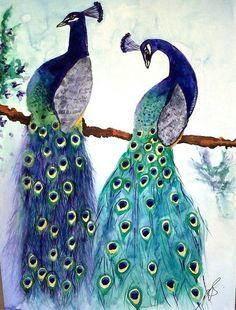 Peacocks Watercolor by Paula Steffensen