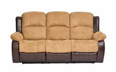 Sectional Sofa Traditional Brush Microfiber Reclining Sofa in Hazelnut on Brown