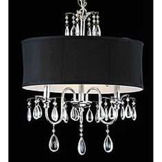 Create a modern yet classic look with this sophisticated three-light chandelier. With its sensual black fabric shade and teardrop crystals, this easy-to-clean chandelier offers understated elegance. T