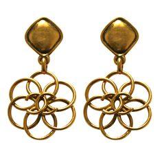 1980's CHANEL oversized gilt earrings