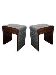 Elegant textures converge: Pair of Exotic Shagreen and Macassar Wood End Tables or Nightstands | The HighBoy | www.thehighboy.com