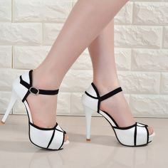 Sandals spring and summer new europe and the united states super sexy high heels mouth black and white fashion dew waterproof