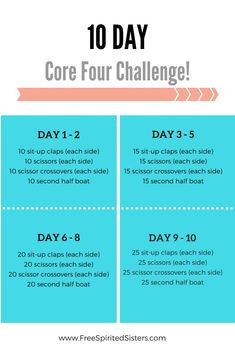 Try this core strengthening challenge today! Workout For Flat Stomach, Ab Workout At Home, At Home Workouts, Month Workout, Workout Schedule, 10 Day Challenge, Workout Challenge, 10 Day Workouts, 30 Day Fitness