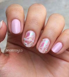 Cute Pink Broken Glass Nails