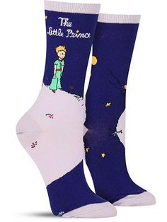 Fans of fanciful stories will love these cool literature socks portraying everyone's favorite petite royal. Showing the cover of the English translation of Antoine de Saint-Exupéry's Little Prince, th
