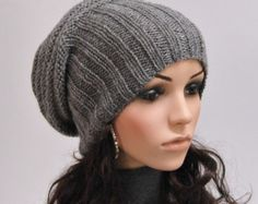 Hand knit hat Grey Chunky Wool Hat slouchy hat-ready to ship