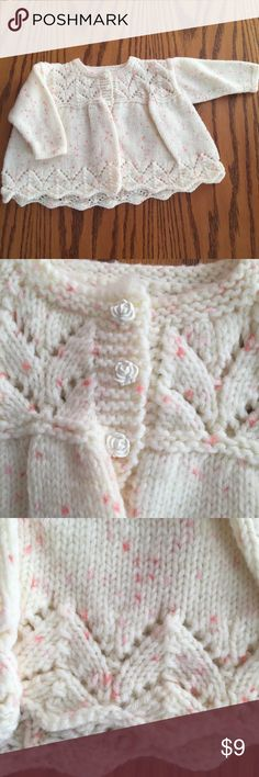 """Homemade Ivory with pink sweater. 18 months Excellent condition Homemade Ivory with pink sweater. 18 months. 10"""" long Shirts & Tops Sweaters"""