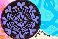 """Round Gelli® Plates + StencilGirl™ Stencils! For these pages, I used round Gelli printing plates in all three sizes: 4"""" round, 6"""" round, and 8"""" round along with LOTS of StencilGirl stencils! Inspired by Gelli Arts' Gelli Stamping Layered Circles! video,"""
