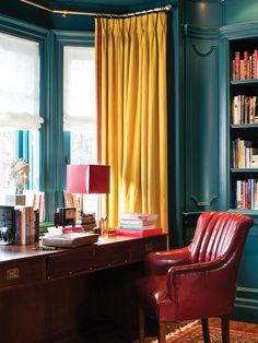 Dramatic Mustard Drapes in a Handsome Office | photo Ted Yarwood | design Casey Design Studio | House & Home