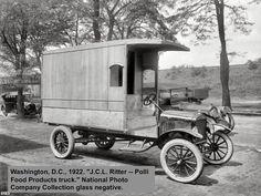 """FoodTruck Washington, DC 1922 """"JCL Ritter - Polli Alimentos Productos camión."""" - National Collection Photo Company negativa de cristal"""