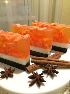 """Купить """"Кофейно-апельсиновая гвоздика"""" 110гр-115гр и 55гр-пробник - оранжевый, мыло в подарок"""