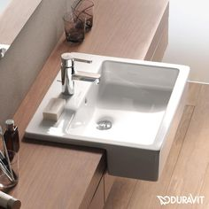 Duravit Vero: The white, angular semi-vanity washbasin is a great eye-catcher in your bathroom: Perfect for the guest bathroom or main bathroom. In addition, the washbasin is easy to clean thanks to the WonderGliss surface. Condo Bathroom, Bathroom Basin, Budget Bathroom, Bathroom Ideas, Bathroom Table, Bathroom Showers, Master Bathrooms, Small Bathrooms, Basement Bathroom