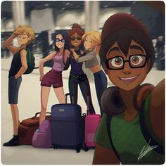 It's the 5 guys burgers & fries miraculous crew! Where do you think they're traveling? Ladybug And Cat Noir, Meraculous Ladybug, Ladybug Comics, Miraculous Ladybug Wallpaper, Miraculous Ladybug Fan Art, Bugaboo, Lady Bug, Film Manga, Marinette Et Adrien