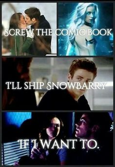 Screw the comic book. I'll ship snowbarry if I want to Supergirl Dc, Supergirl And Flash, Dc Tv Shows, Movies And Tv Shows, Barry And Caitlin, Flash Funny, Flash Barry Allen, Dc Memes, Marvel Memes