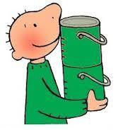 Thema kleuren: Jules met groene verfpotjes.