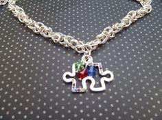 Autism Awareness Puzzle Piece Necklace #beadsknitsandbits #autism #autismawareness