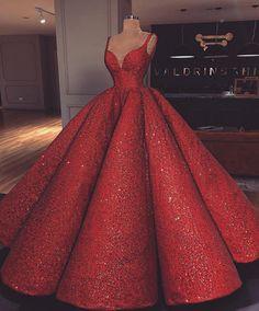 Luxus Rot Super A-Linie Langes Abendkleid V-Ausschnitt Abendkleid Hochzeitskleid