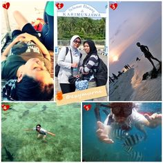 Travel Journal : It's Karimunjawa island, Central Java, Indonesia.  1. Take some rest on the boat before snorkeling.  2. Welcome in Karimunjawa island.  3. Enjoying the sunset at Tanjung Gelam.  4. Playing with the 'friendly' sharks.  5. Feeding the fishes in the sea.  Complete story at my blog with Indonesian language :)