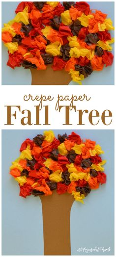 Kids explore texture and sound, develop fine motor skills, and have fun while making this easy crepe paper fall tree craft. leaves | preschool | kid craft | handprint
