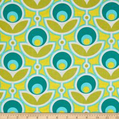 Joel Dewberry Notting Hill Primrose Aquamarine from @fabricdotcom  Designed by Joel Dewberry for Free Spirit, this cotton print features a retro floral motif.  Perfect for quilting, apparel and home décor accents.  Colors include yellow, cream, aqua and teal.