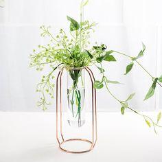 New Rose Gold Frame Vase/ Modern Home Vase Decor Modern Bud Vases Decor, Plant Decor, Centerpieces, Glass Cylinder Vases, Bud Vases, Rose Gold Frame, Metal Vase, Minimalist Wedding, Modern Decor