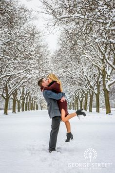 Don't be afraid to venture into the snow for some magical engagement and wedding photos!
