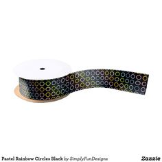 Pastel Rainbow Circles Black Satin Ribbon