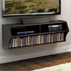 Prepac Furniture - Prepac Altus Wall-Mounted Audio/Video Console, Black - Entertainment Centers and Tv Stands Black Entertainment Centers, Floating Entertainment Center, Home Entertainment, Entertainment Furniture, Floating Tv Stand, Floating Shelves, Floating Wall, Swivel Tv Stand, Do It Yourself Organization