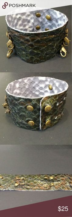 "Lenny and Eva wide leather cuff emerald bronze new Lenny & Eva  Leather Cuff  Wide Bracelet  ""Emerald scale"" - emerald and bronze in color  Add charms, bars, pendants and sentiments to complete the look  Fits wrists 6 inches - 8 inches.? 1 5/8 inches wide. Lenny and Eva Jewelry Bracelets"