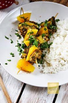 Szaszłyki z parowaru. Kurczak i mango! - ekscentryczny Parowar Risotto, Mango, Curry, Cooking, Ethnic Recipes, Food, Manga, Kitchen, Curries