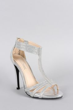 Anne Michelle Glitter Rhinestone T-Strap Stiletto Heel - JP Murga's - 2