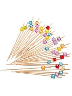 PuTwo 9259 100 Count Party Frilled Toothpicks Sandwich Cocktail Appetizer Cocktail Picks Cocktail Sticks, Multicolor ❤ PuTwo