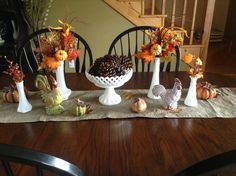 Love decorating with my milk glass! Fall center piece.