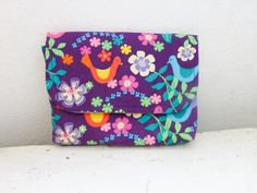 Fabric Wallet women's wallet women's gift idea snap closure ready to ship purple wallet floral print cute accessory