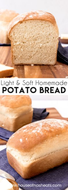 This light and fluffy homemade Potato Bread recipe makes two soft loaves that are perfect for sandwiches, toast, or just sliced warm out of the oven with butter and jam! It's a great way of using up your favorite leftover mashed potatoes! Potato Sandwich, Sandwich Bread Recipes, Loaf Recipes, Easy Bread Recipes, Baking Recipes, Sliced Bread Recipes, Homemade Sandwich Bread, Skillet Recipes, Potato Recipes