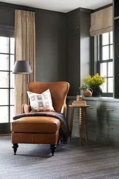 Bria Hammel Interiors: View over 50 photos of stunning living rooms, kitchens, bedrooms and dining rooms for design inspiration for your own home. Office Interior Design, Interior S, Office Interiors, Best Office, Bedroom Photography, Restoration Hardware Bedding, Vintage Nightstand, Wooden Side Table, Amai