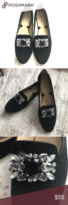 Adrienne Vittadini Loafers Bejeweled loafers. Size 8 1/2. Brand New. Black suede. They are adorable! ❤️ Adrienne Vittadini Shoes Flats & Loafers